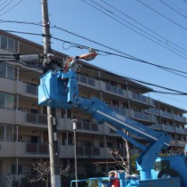 街路灯新設改修工事-既存照明撤去